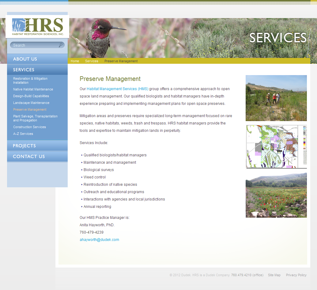 New HRS Services Page