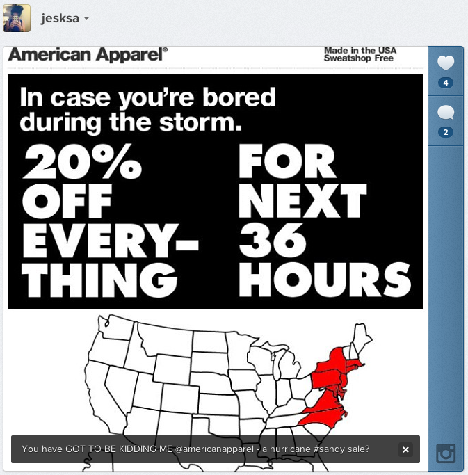 "American Apparel ""Hurricane Sandy Sale"""