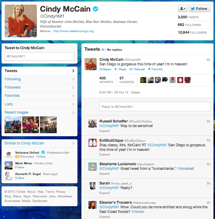 Cindy McCain tweets about San Diego Weather during Hurricane Sandy