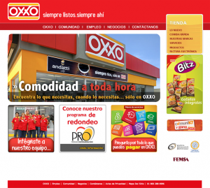 OXXO Homepage before website redesign