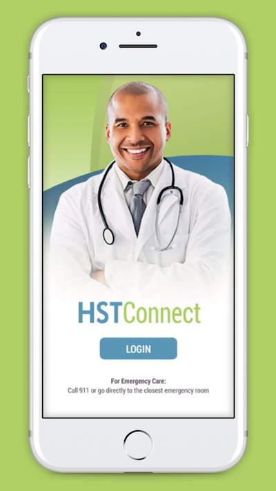 iPhone with HSTConnect app loaded.