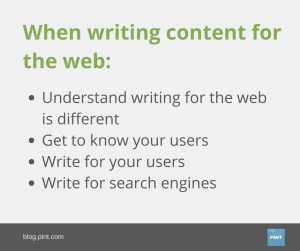 A graphic of the four steps to writing for the web.