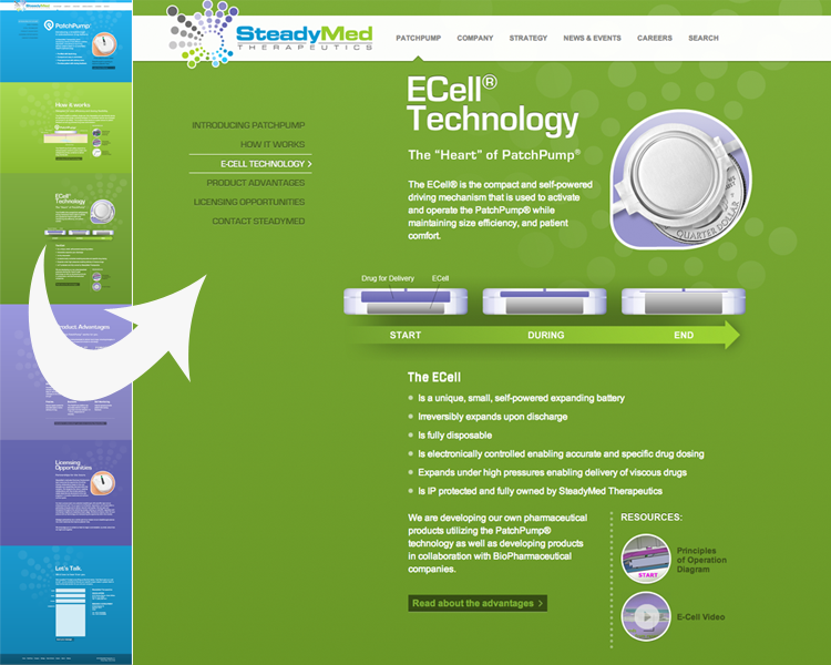 previous Steadymed website design