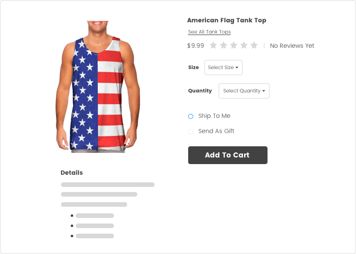 Screenshot of an online store with a tank top for sale.