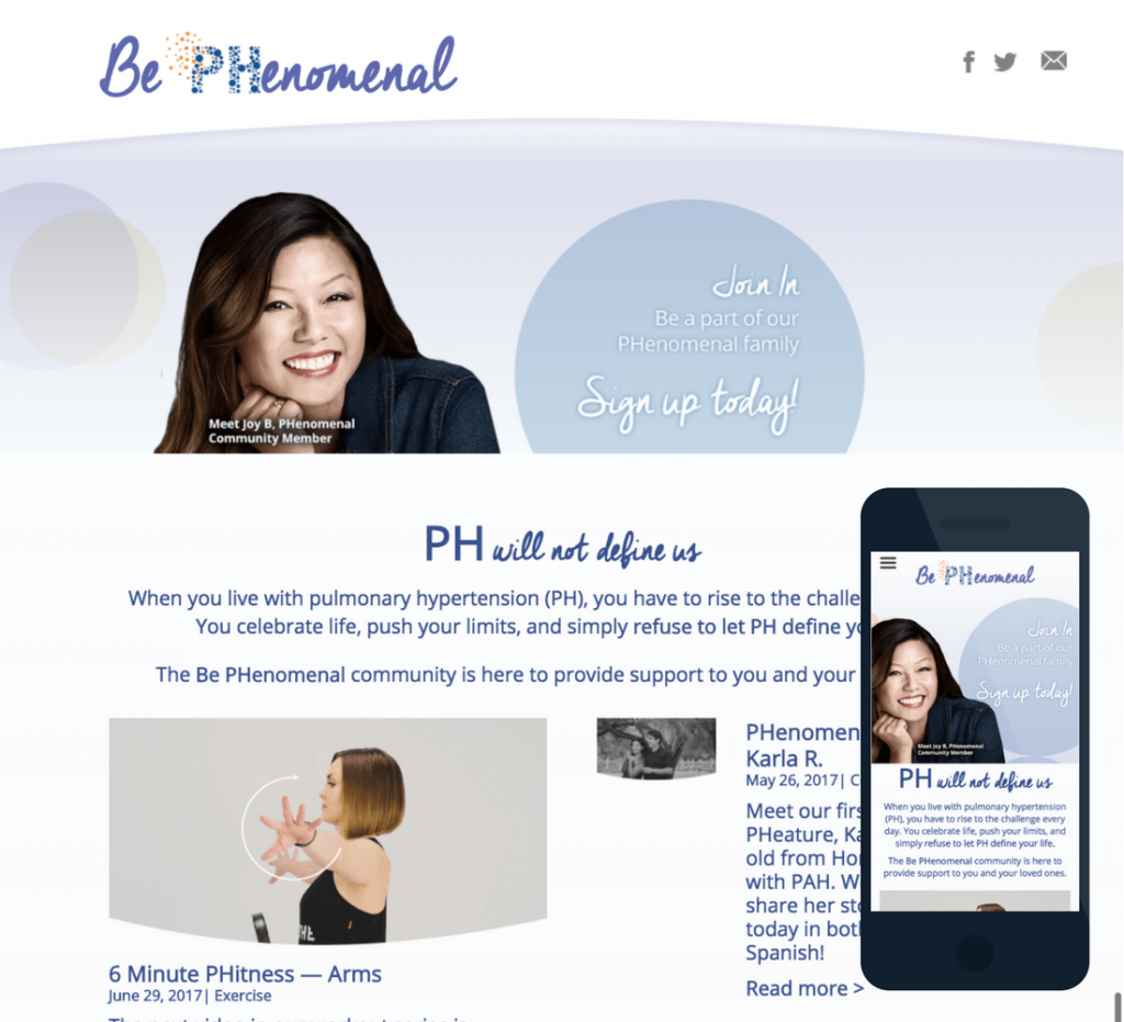 Screenshots of the desktop and mobile versions of the BePHenomenal site.