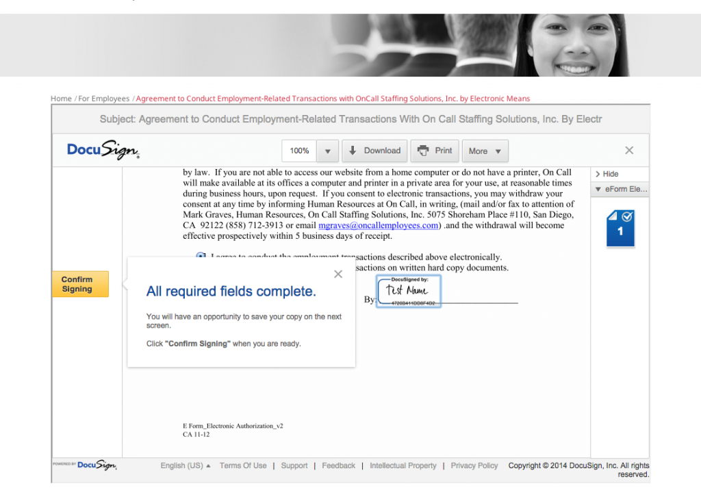 signing confirmation screen with docusign integration