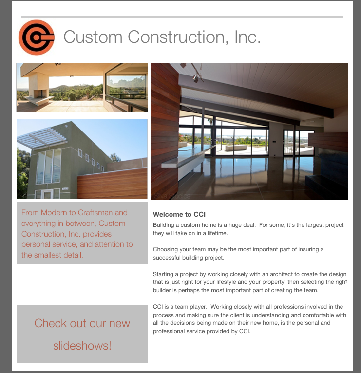 contractor website before redesign