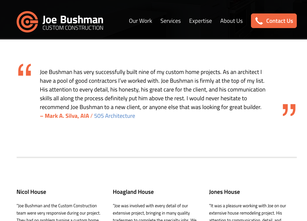 contractor website testimonials page