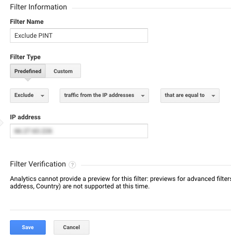 Screenshot of IP exclusion filter settings in Google Analytics.
