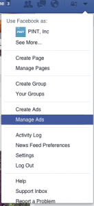 facebook analytics menu