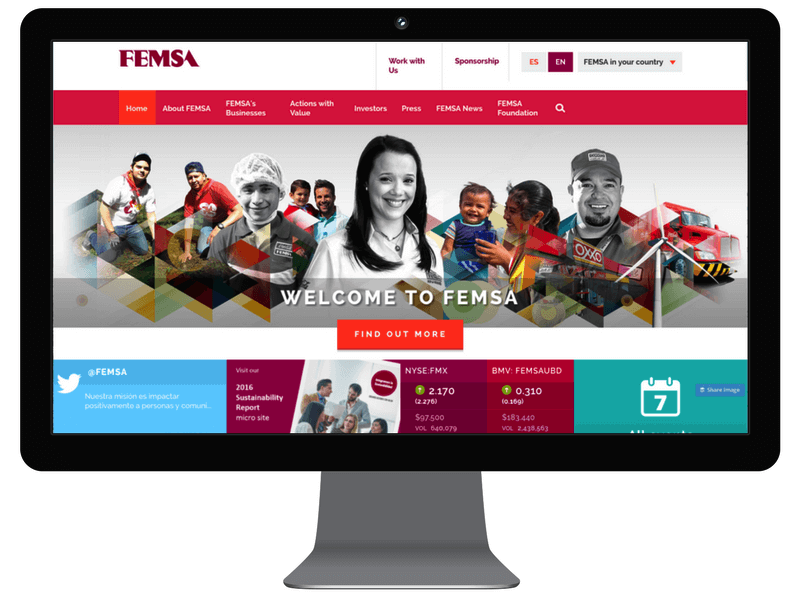 Screenshot of the FEMSA site on a desktop computer.