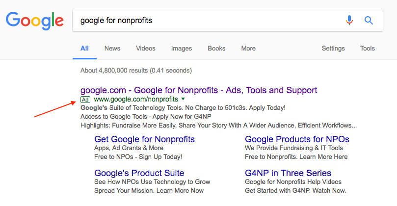 Screenshot of the Google Ad Grants SERP result