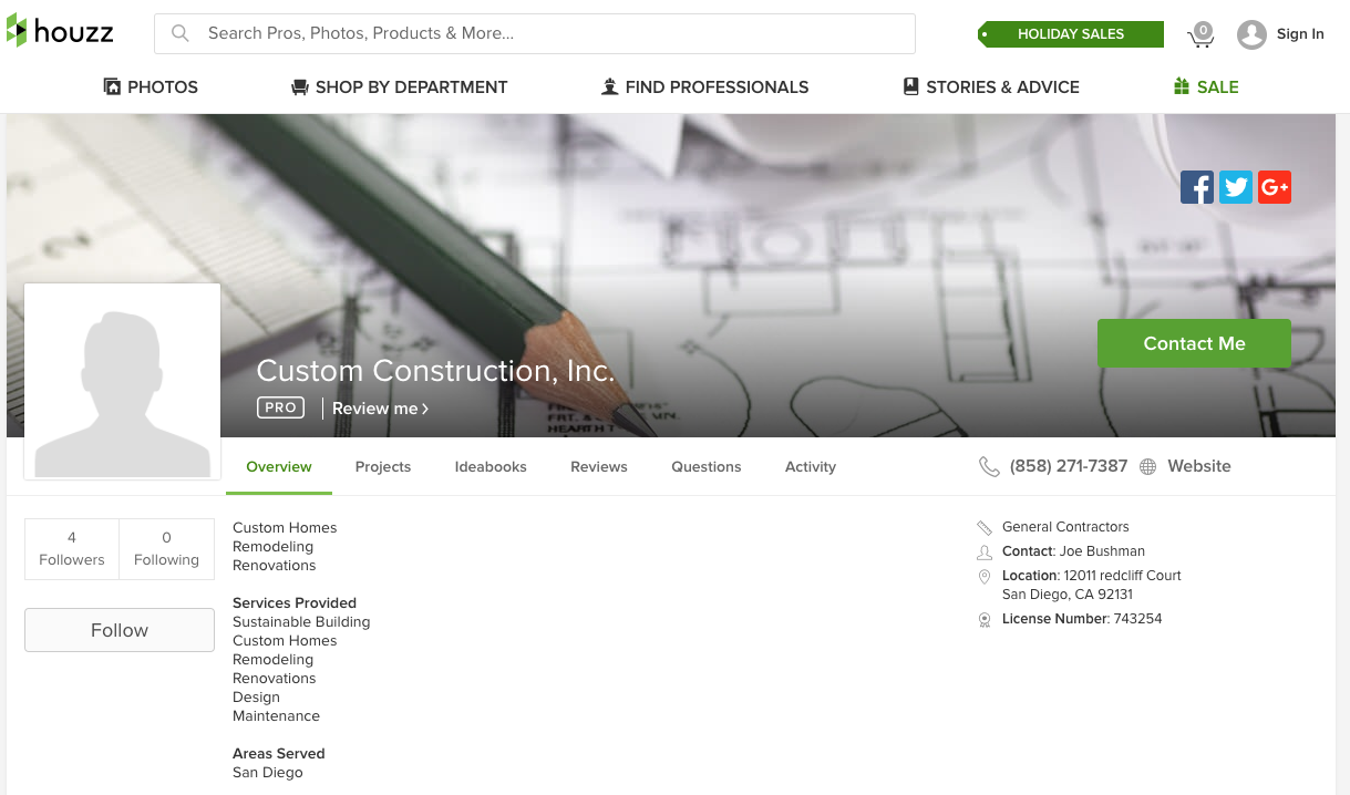 houzz social media for contractors