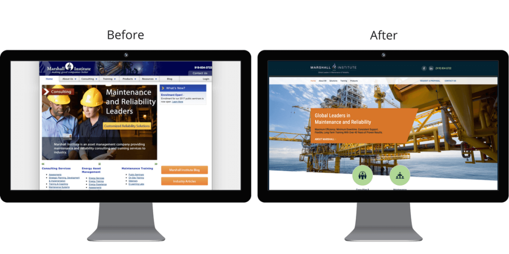 Before and after screenshots of the Marshall Institute homepage.