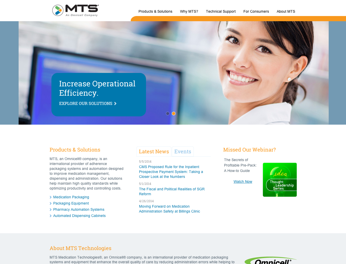 Screenshot of MTS website redesign