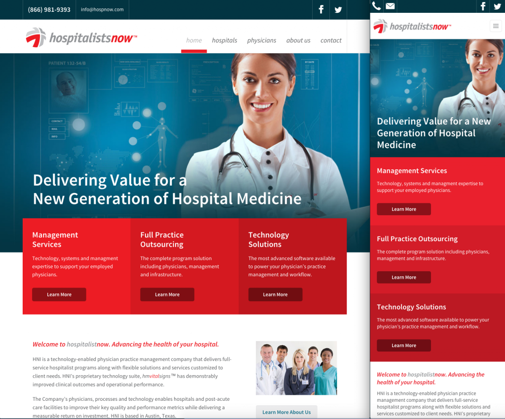 HNI responsive website redesign