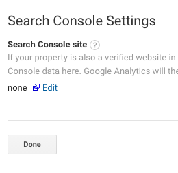Screenshot of search console settings in Google Analytics.
