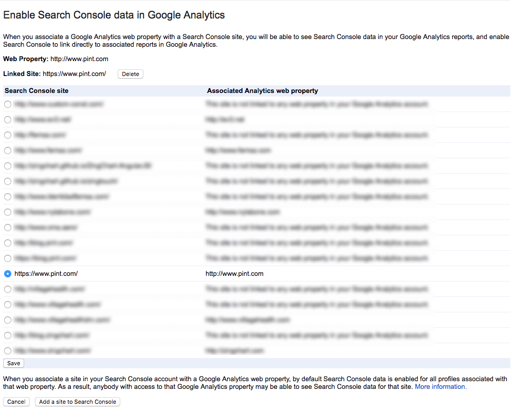 Screenshot of Google Analytics settings in Search Console.