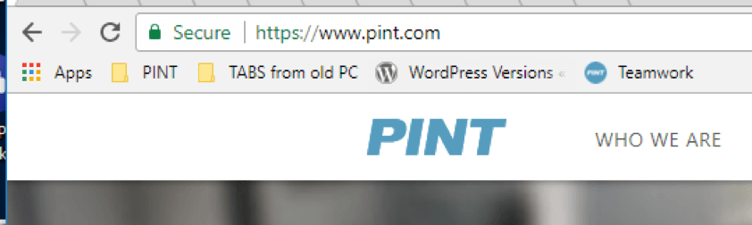 Screenshot of a chrome browser bar with the green security lock and PINT's URL in the address bar.