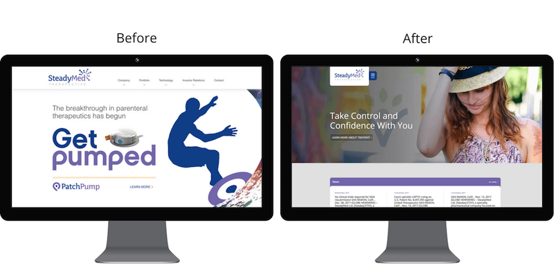 The SteadyMed homepage before and after the redesign.