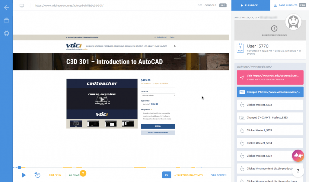 Screenshot of a FullStory session on VDCI's site.