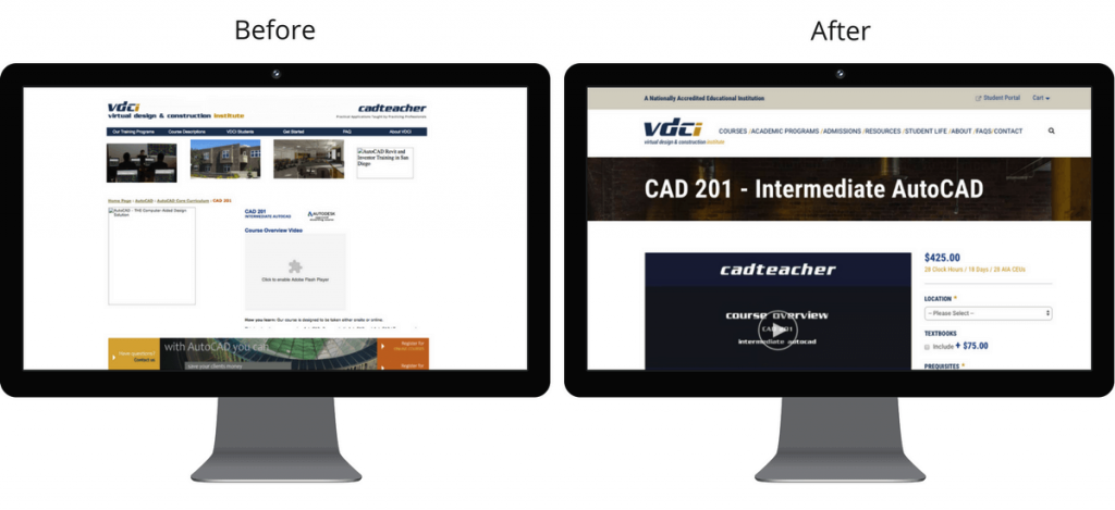Before and after of VDCI's course page.