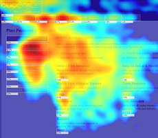 heatmap generated by mouse movements in ClickTale