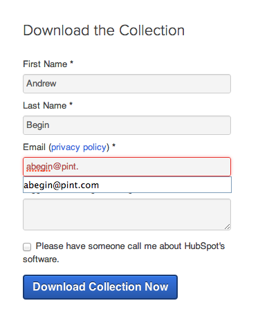 Hubspot form validation example - 2 of 2