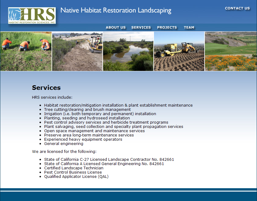 Old HRS Services Page